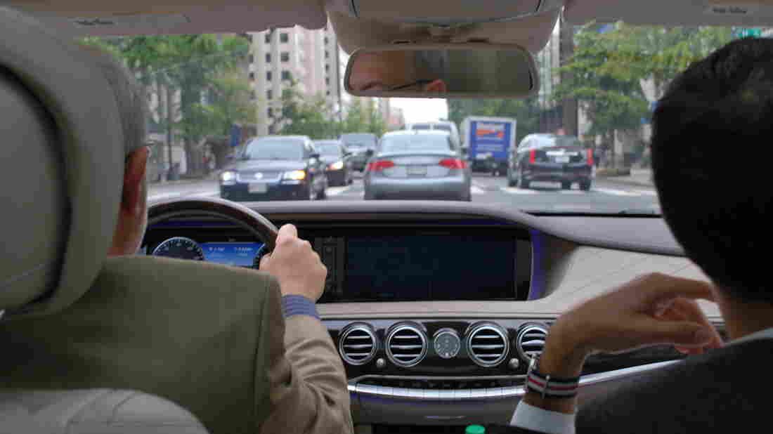 NPR's Robert Siegel and Michael Minielly, a Mercedes-Benz representative, drive a new S550 4Matic, which allows for semi-autonomous driving.