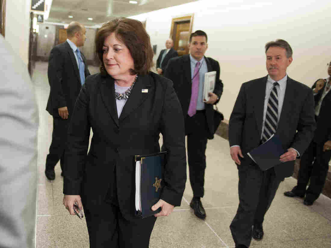 Secret Service director Julia Pierson enters a hearing room in April to answer questions before a closed meeting of the Senate homeland security committee in Washington. Today, Pierson will appear before a House committee to respond to questions about White House security breaches.