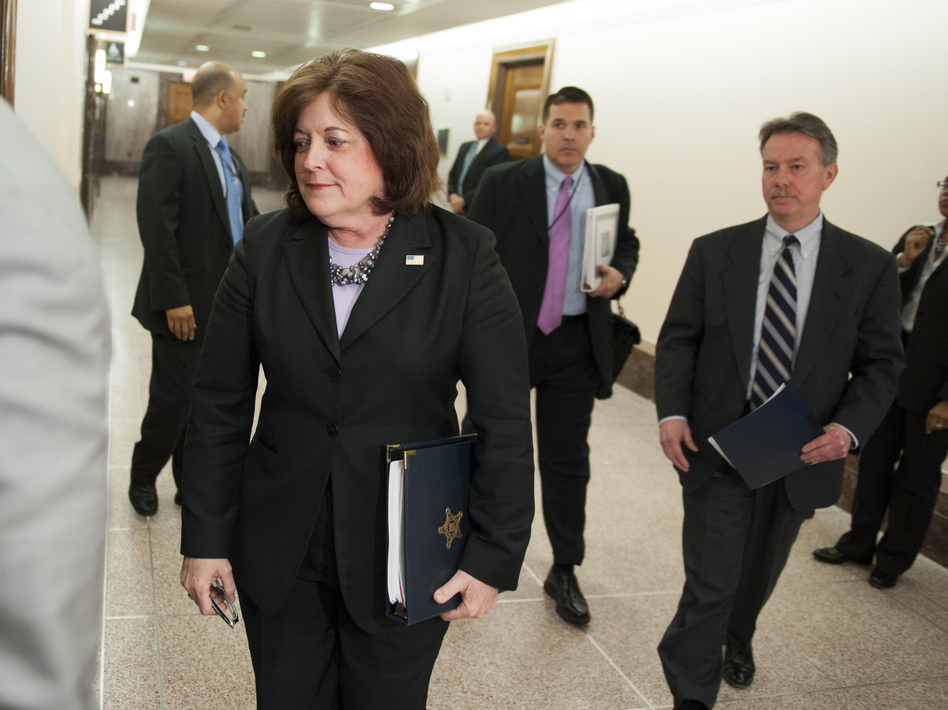 Secret Service director Julia Pierson enters a hearing room in April to answer questions before a closed meeting of the Senate homeland security committee in Washington. Today, Pierson will appear before a House committee to respond to questions about White House security breaches. (Cliff Owen/AP)