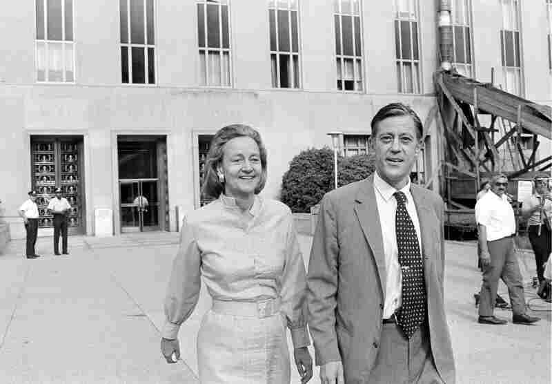 Katharine Graham, publisher of The Washington Post, and Bradlee leave U.S. District Court in Washington, D.C., on June 21, 1971. The newspaper got the go-ahead to print the Pentagon Papers.