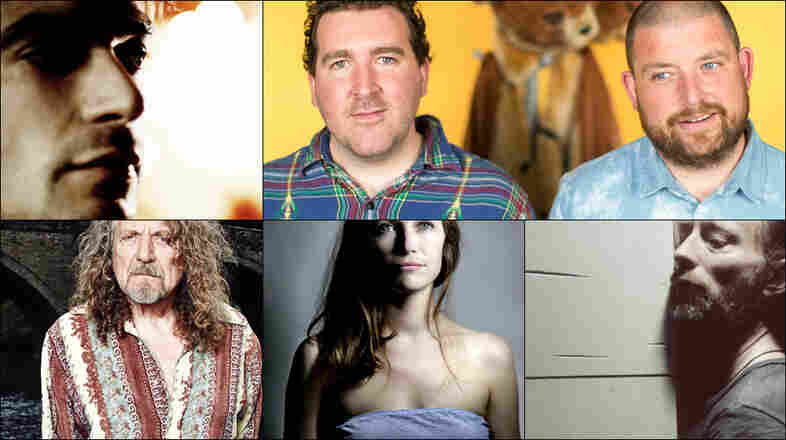 Clockwise from upper left: The 2 Bears, Thom Yorke, Robert Plant, Aphex Twin, Mina Tindle, Jon Hopkins