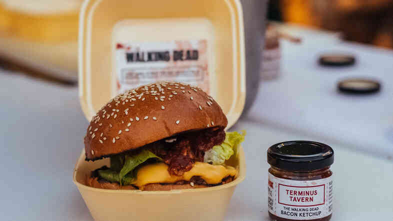 Chef Jim Thomlinson is serving the burger, made of minced pork, minced veal and bone marrow, with bacon ketchup on a sesame brioche bun.