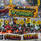 Demonstrators gathered near Columbus Circle before the start of the People's Climate March in New York.