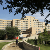 A view of the Texas Health Presbyterian Hospital in Dallas, on Tuesday. A patient in the hospital with a CDC-confirmed case of Ebola is being kept in strict isolation, hospital officials said Monday.