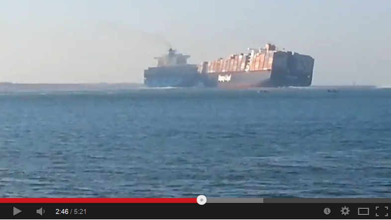 Two container ships collide in the Suez Canal on Monday.
