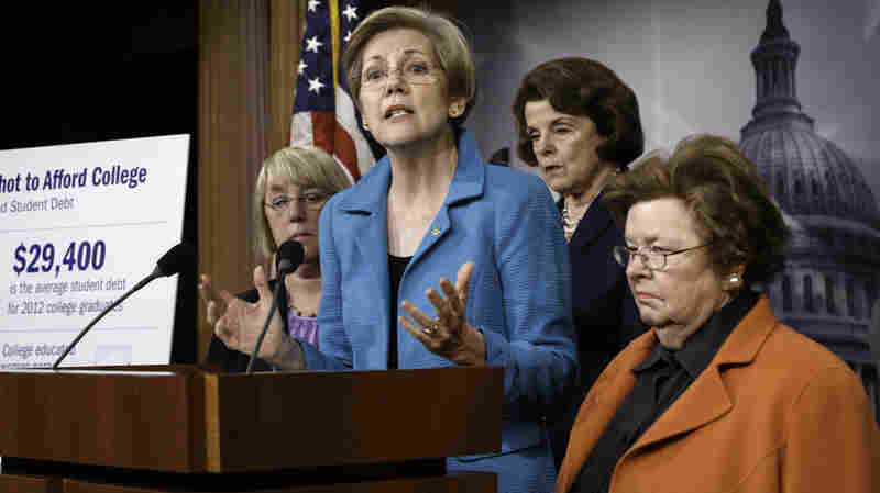 """""""Who does Washington work for?"""" asked Sen. Elizabeth Warren, D-Mass., after her bill that would let people refinance student debt was shot down in June. It was a question she came back to repeatedly in an NPR interview on the Goldman Sachs bailout and federal regulation of the financial sector."""
