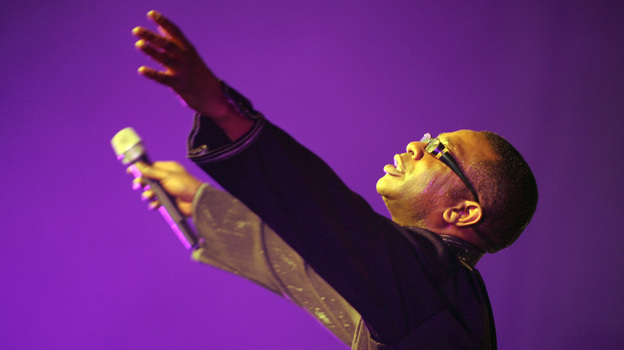 Senegalese superstar singer Youssou N'Dour performs in Lagos, Nigeria in 2009. (AFP/Getty Images)