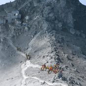 Japan Self-Defense Force (JSDF) soldiers and firefighters conduct rescue operations near the peak of Mount Ontake on Wednesday.
