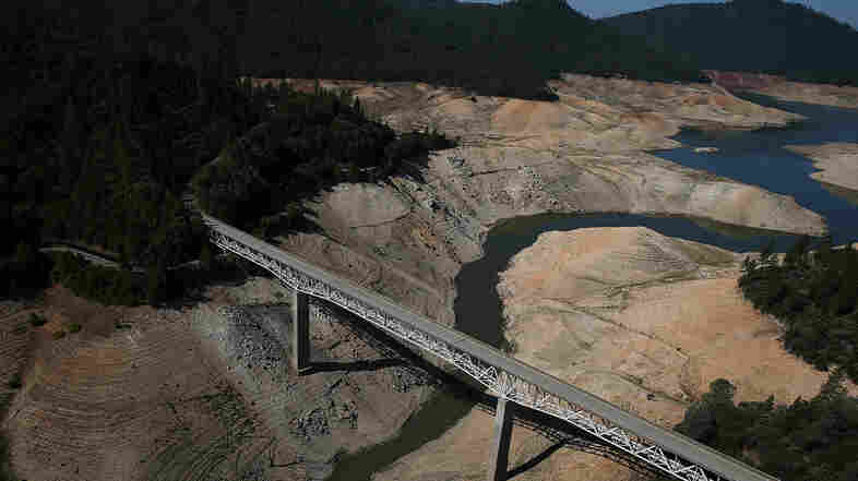 Lake Oroville in California has little water after three years of drought.