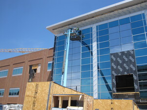 Construction is continuing at the Maryland Proton Treatment Center in downtown Baltimore. It's one of three such centers under development in the Washington, D.C., region.