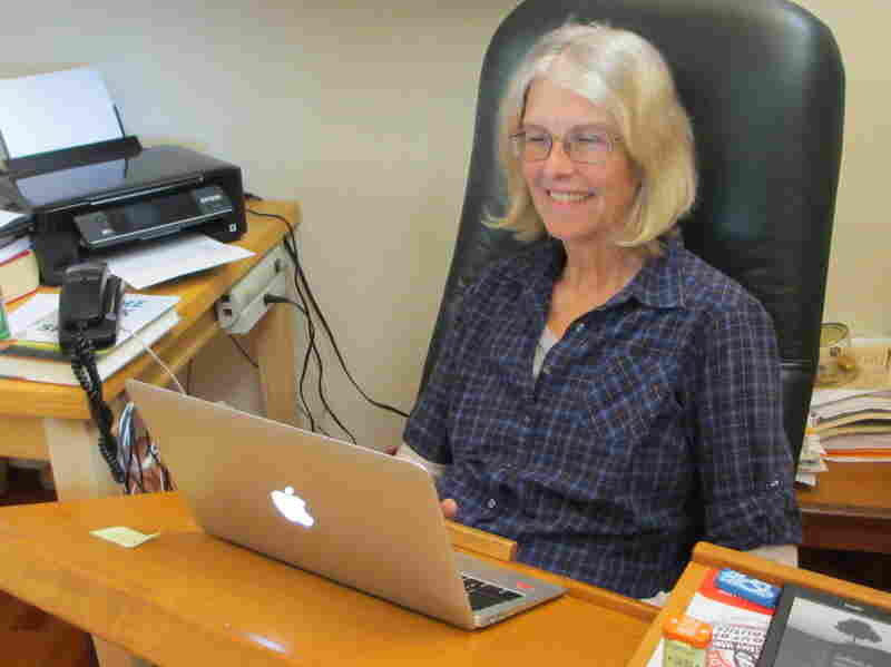 Jane Smiley sits at her writing desk in Carmel Valley. Her previous books include The Man Who Invented the Computer, Ten Days in the Hills and Private Life.