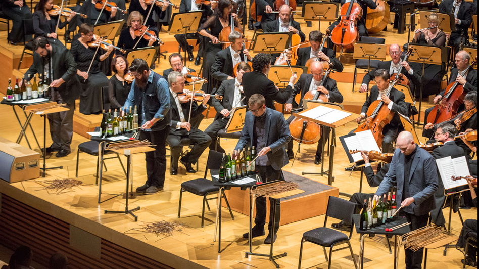 Members of the ensemble So Percussion join conductor Gustavo Dudamel for the U.S. premiere of David Lang's man made at Walt Disney Concert Hall. (for NPR Music)