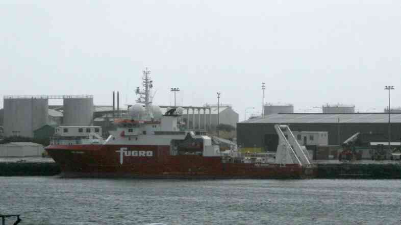 A photo made available on Monday of the Fugro Discovery search vessel moored at Fremantle Port in Perth, Australia. The vessel is one of three that will resume the search for possible wreckage from MH370.