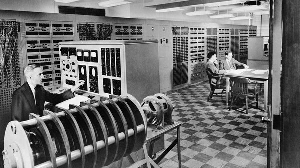 The electric analog computer named ANACOM, in 1950 at Caltech, weighed 6,000 pounds and filled 13 cabinets.