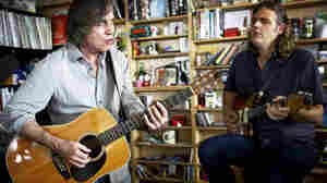Jackson Browne (left) and Val McCallum preform a Tiny Desk Concert at NPR in Washington, D.C, Sept. 12, 2014..