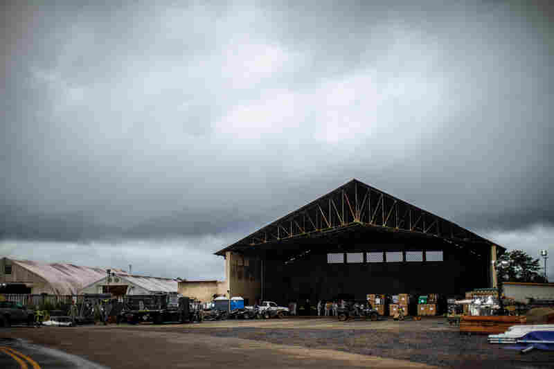 This hangar at the Monrovia airport is being used by the U.S. military to store supplies for the 25-bed hospital for health care workers.