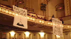 Rebecca Rivas, a reporter for the St. Louis American newspaper, captured video of the Ferguson protest at the St. Louis Symphony concert Saturday night.