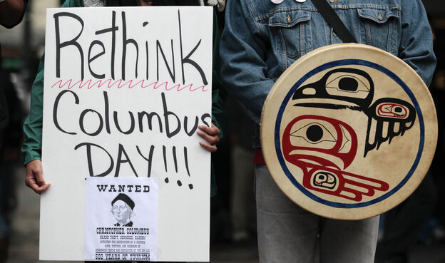 Native American protesters have been demonstrating against Columbus Day in Seattle for several years. Protest organizers say Columbus should not be credited with discovering the Western Hemisphere at a time when it was already inhabited.