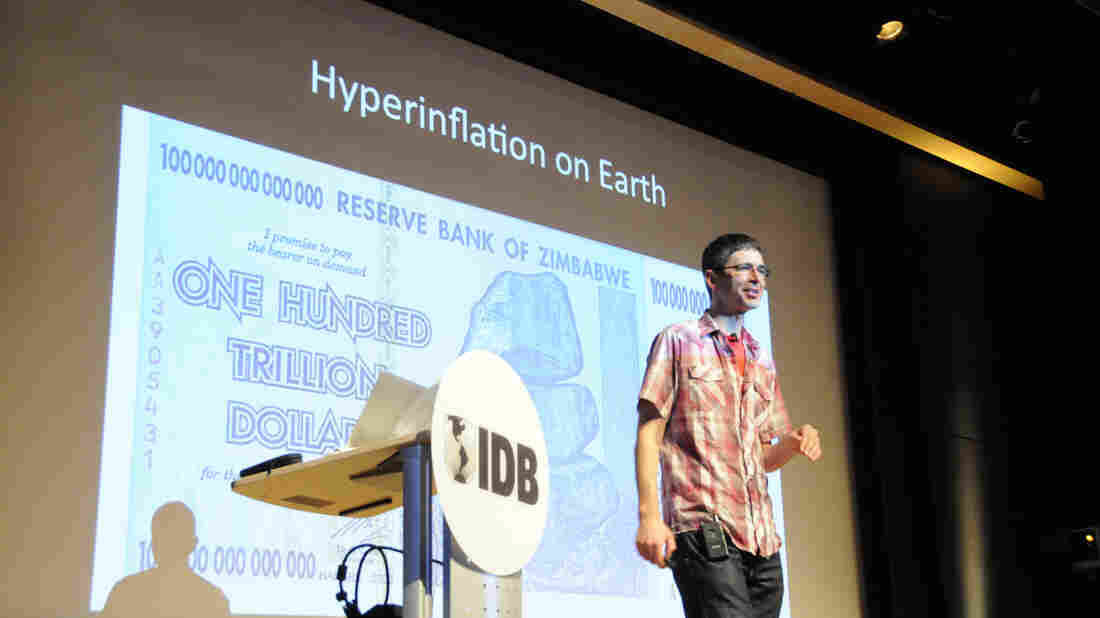 """Yoram Bauman jokes about """"hyperinflation in hell"""" and on earth. Case in point: the Zimbabwe hundred-trillion-dollar note."""