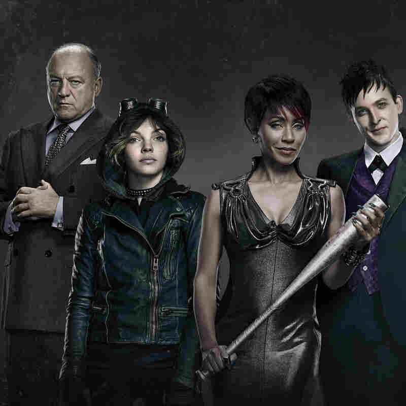 Jada Pinkett Smith (second from right) stars in Fox's Gotham along with John Doman (from left), Camren Bicondova and Robin Lord Taylor.