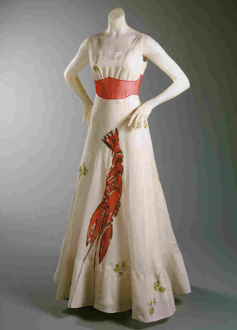 Lobster dinner dress, designed by Elsa Schiaparelli in collaboration with Salvador Dalí, 1937.