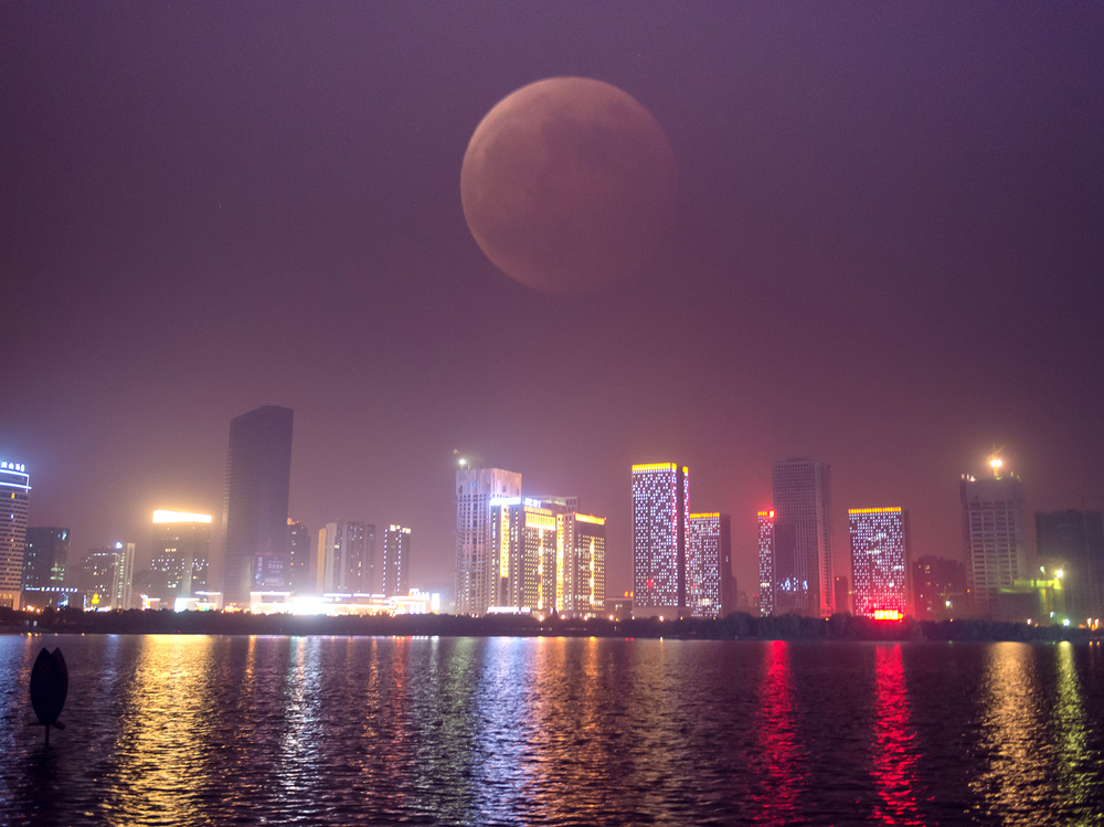 A photo taken using multiple exposures in Hefei, capital of east China's Anhui province.