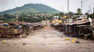 A market area sat empty last month in Freetown, Sierra Leone, as the country's government enforced a three-day lockdown in an attempt to halt the spread of the Ebola virus.