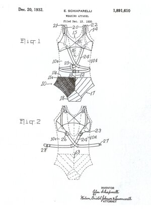 Schiaparelli invented a built-in bra to be used in bathing suits.