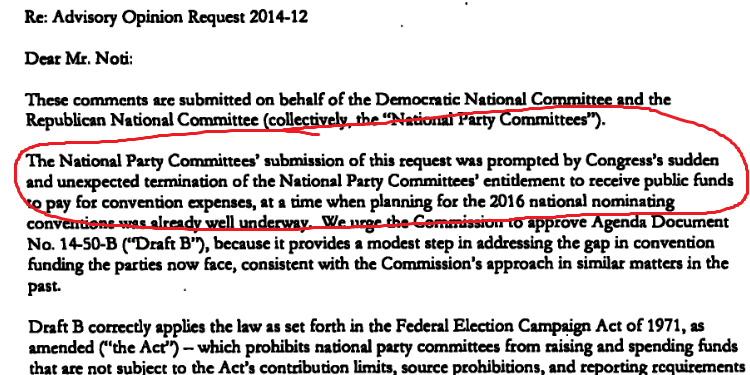From an October 8 letter to the Federal Election Commission from the Democratic and Republican parties.