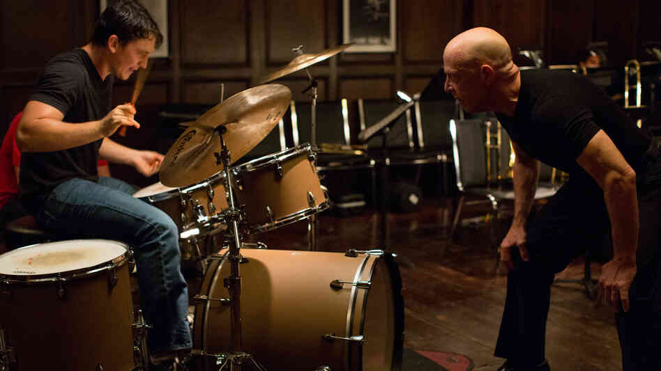 Miles Teller and J.K. Simmons face off in Damien Chazelle's impressive drumming-as-sport film, Whiplash.