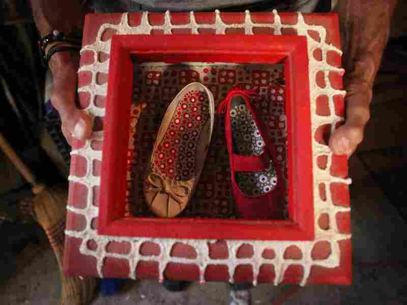 Patterned Shoes, one of Spider's works-in-progress, features shoes he found near his house.