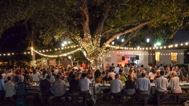 SXSW Eco attendees at the  welcome dinner at Springdale Farms in East Austin on Oct. 6.