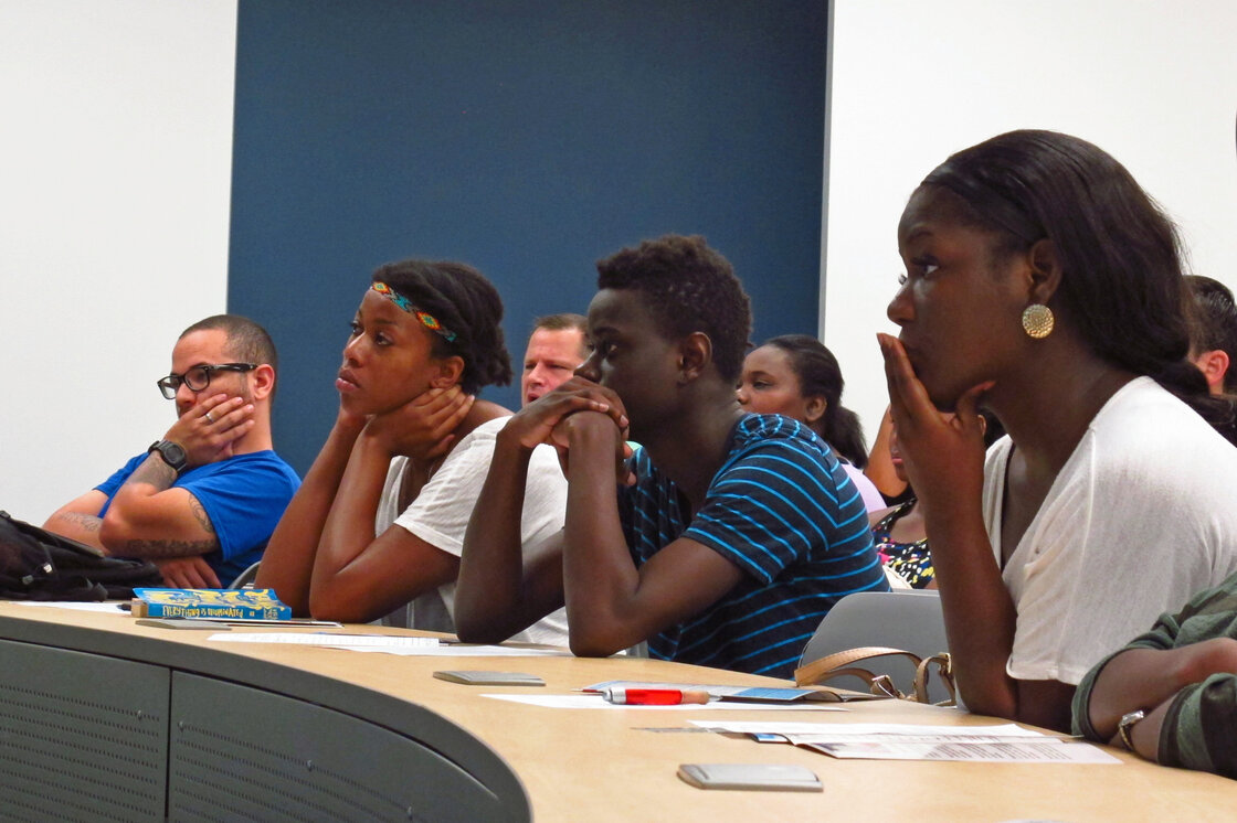 Students at Broward College in Fort Lauderdale, Fla., attend a debt management workshop. Broward is one of 29 colleges that no longer accepts unsubsidized student loans. The effort is part of an experiment to cut down on student loan debt and defaults.