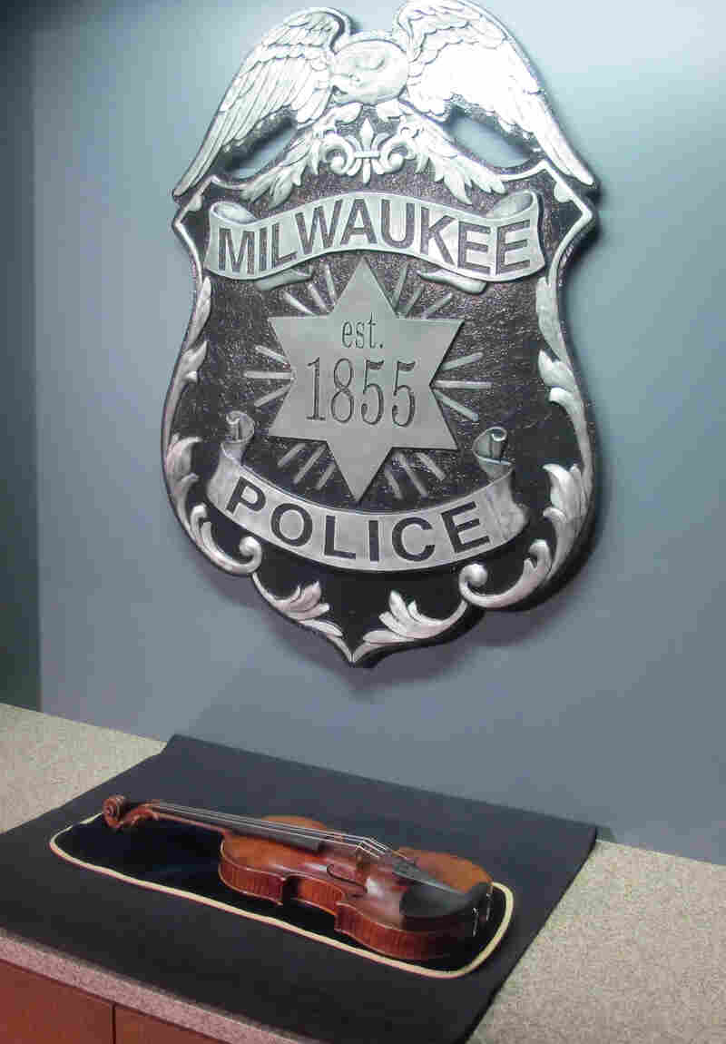 The Lipinski Stradivarius violin is displayed at the Milwaukee Police Department on Feb. 6.