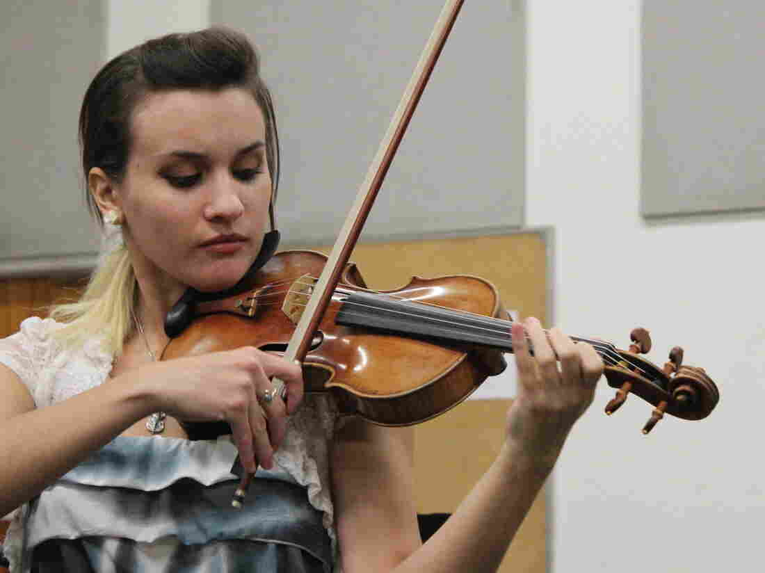 """Nicolette Kocsardy plays the 1732 Duke of Alcantara Stradivarius at UCLA. """"It's very light compared to any violin I've held,"""" she says. """"I never had anything this precious in my hands."""""""