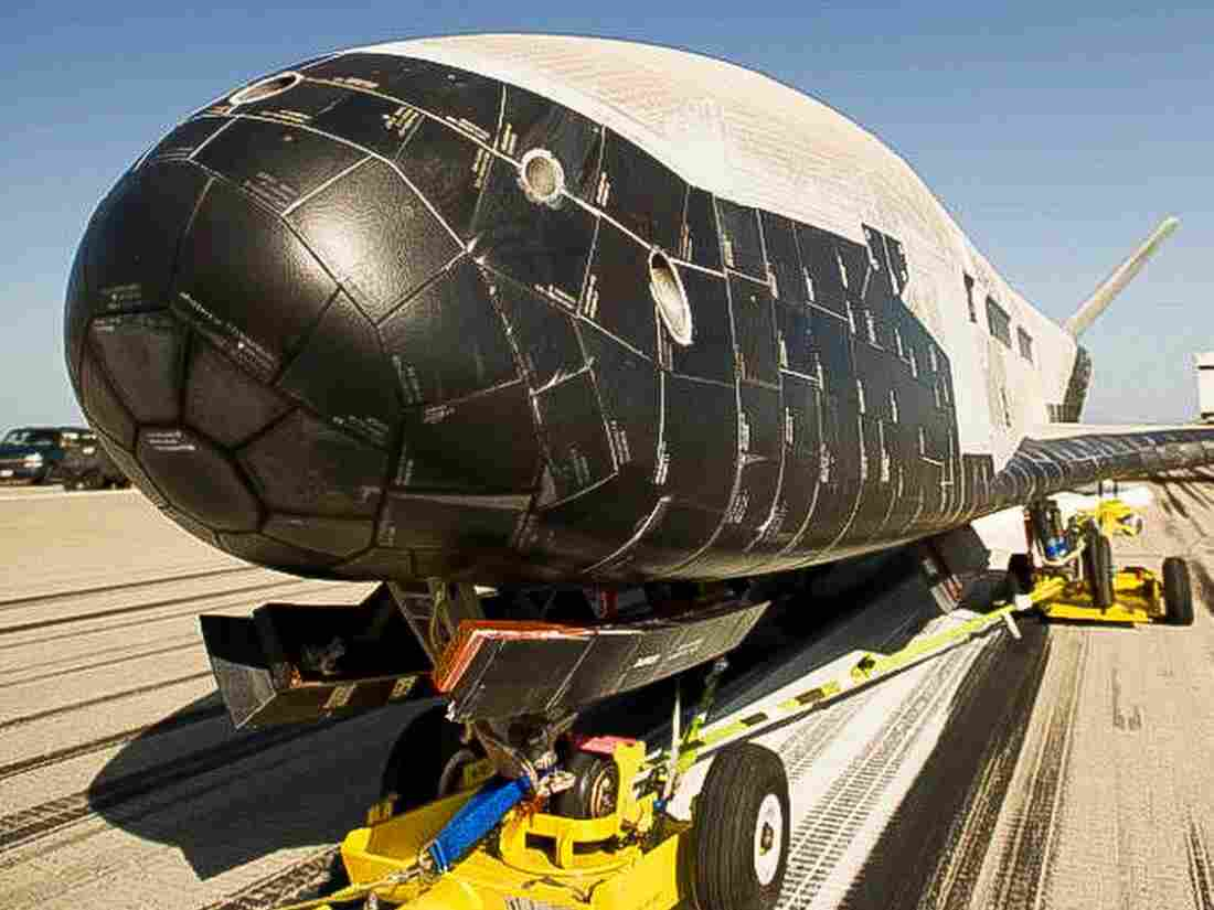 This photo released by Vandenberg Air Force Base on Monday shows the X-37B Orbital Test Vehicle, the Air Force's unmanned, reusable space plane, after it landed at Vandenberg from a previous orbital mission.
