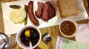 This serving of Texas barbecue brisket, sausage and beans was a mere snack on our epic movable feast.
