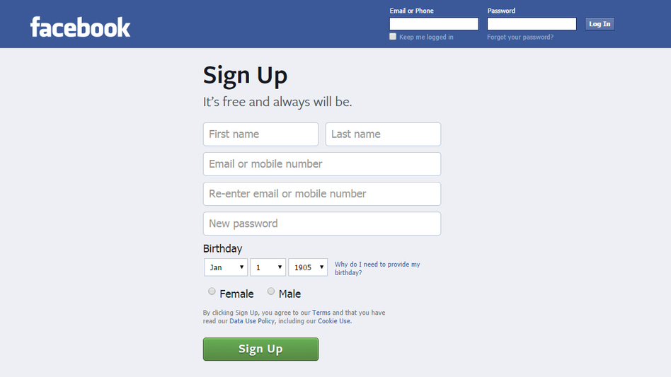 Facebook's log-in page currently doesn't allow a date earlier than Jan. 1, 1905, to be selected.