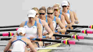 The gold-medal winning U.S. rowing team — coxswain at lower left — at the 2008 Olympic Games in Beijing.