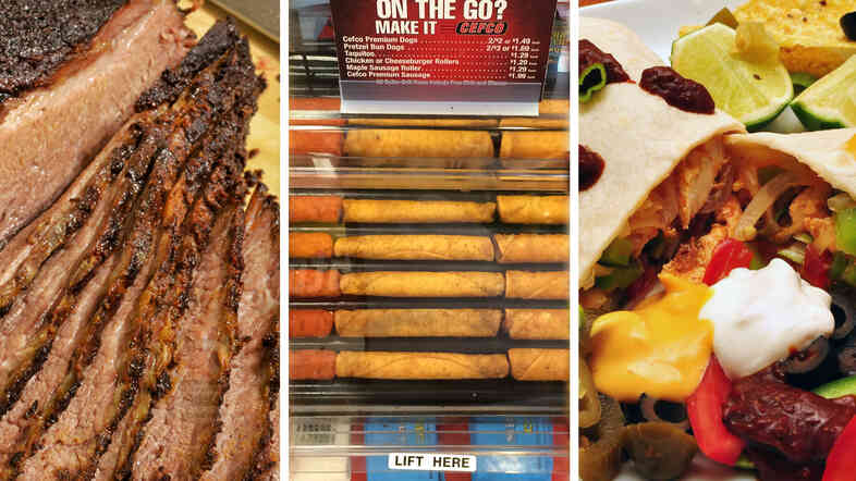 Watch your back, small Texas cafes. Beef brisket (from left), convenience store taquitos and chicken fajitas are taking over Texas.