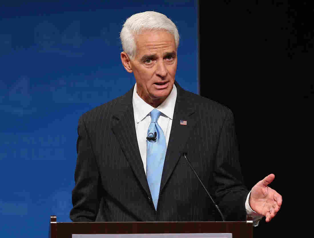 Former Florida Governor and Democratic candidate for Governor Charlie Crist during a televised debate with Republican Florida Governor Rick Scott at Broward College on Wednesday.
