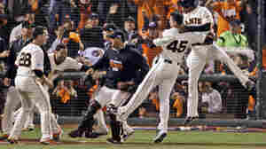 The San Francisco Giants' Travis Ishikawa reacts Thursday after hitting a walk-off three-run home run during the ninth inning of Game 5 of the National League Championship Series against the St. Louis Cardinals.