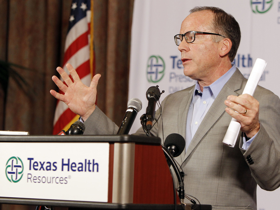 During a news conference on Sunday, Texas Health Presbyterian Hospital Chief Clinical Officer Dr. Daniel Varga answers questions about a health care worker who now has Ebola after providing care for Thomas Eric Duncan. Varga is expected to testify before a House panel looking into Ebola response. (Brandon Wade/AP)
