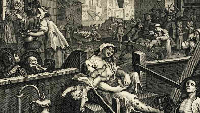 "A depiction of ""Gin Lane,"" filled with sins caused by drunken revelries."