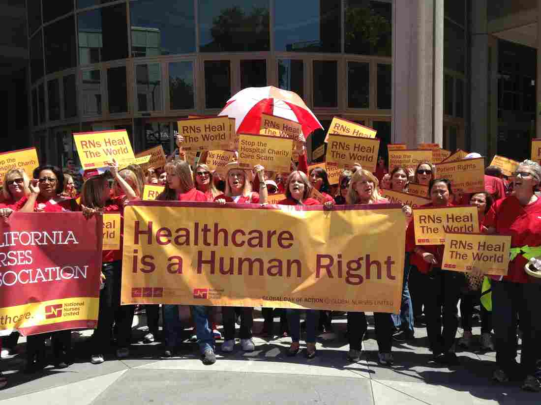 Members of the California Nurses Association rallied in Sacramento, Calif., in May, in anticipation of contract negotiations with Kaiser Permanente that began this fall.