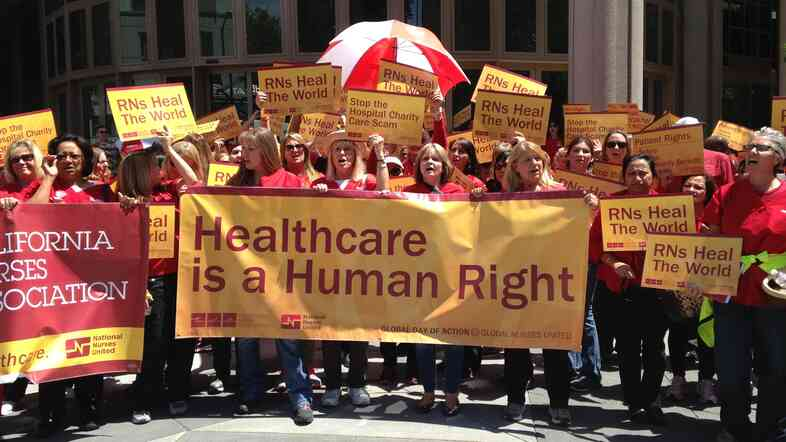 Members of the California Nurses Association rallied in Sacramento, Calif., in May, in anticipation of contract negotiations with Kaiser Permanente that began in this fall.