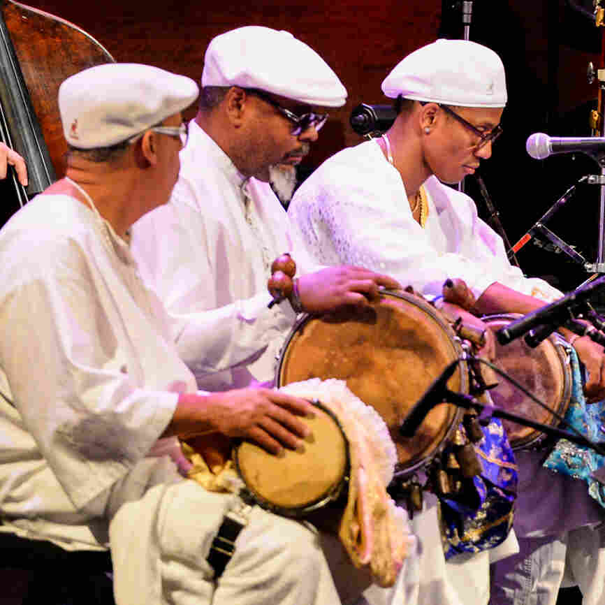 Percussionists Clemente Medina, Román Diaz and Pedrito Martinez perform with the Jazz at Lincoln Center Orchestra.