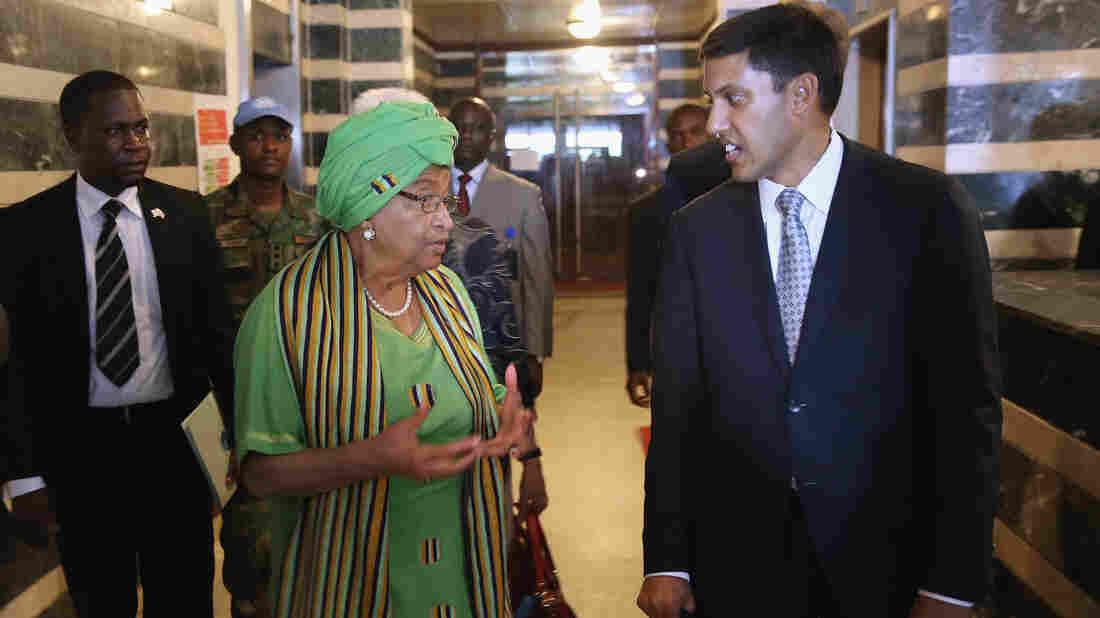 American USAID chief Rajiv Shah meets with Liberian President Ellen Johnson Sirleaf in Monrovia.