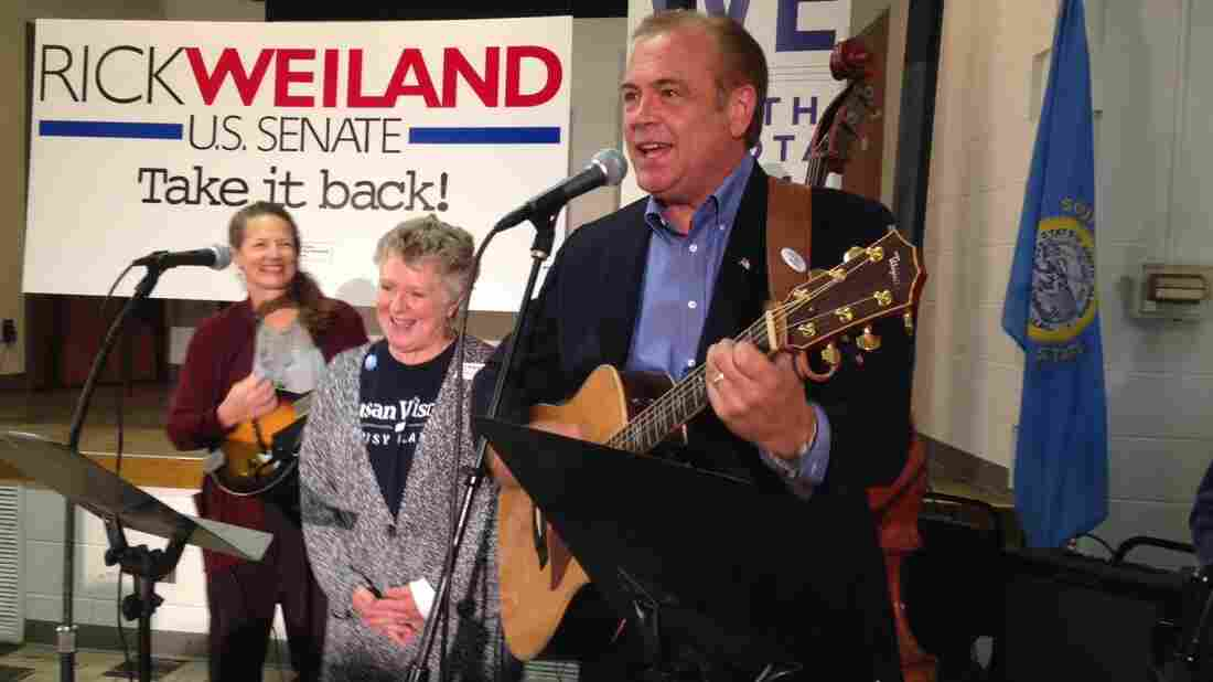 "Democratic candidate Rick Weiland, a businessman, plays at a union hall in Sioux Falls, S.D. ""We've tried to make this campaign fun,"" he told the crowd. ""We're enjoying it. I hope you are."""
