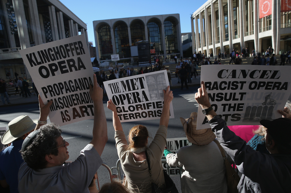 Several hundred protesters picket the opening night of the Metropolitan Opera season at Lincoln Center, Sept. 22, 2014.